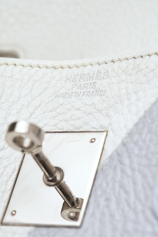 Customised Hermès Birkin 35 Clemence Blanc Grey