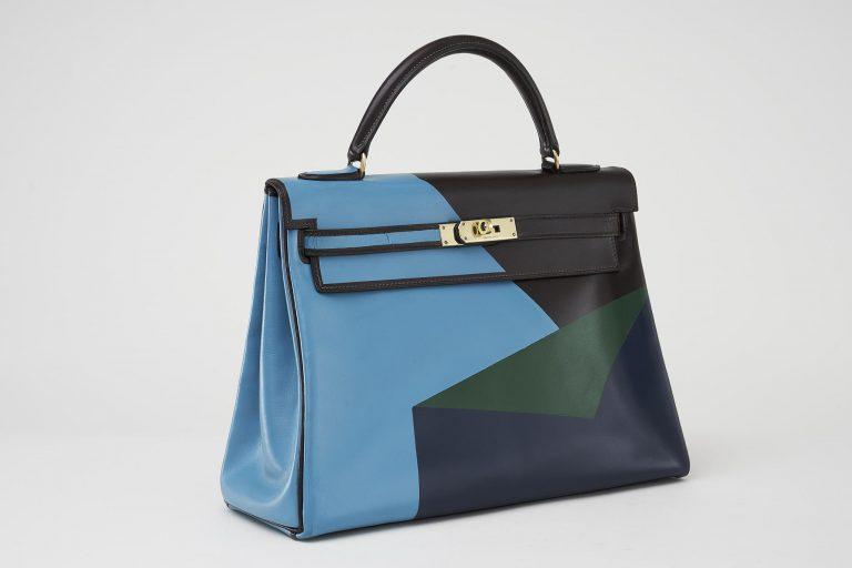 Customised Hermès Kelly 32 Box Calf Geometrica Saclàb Side
