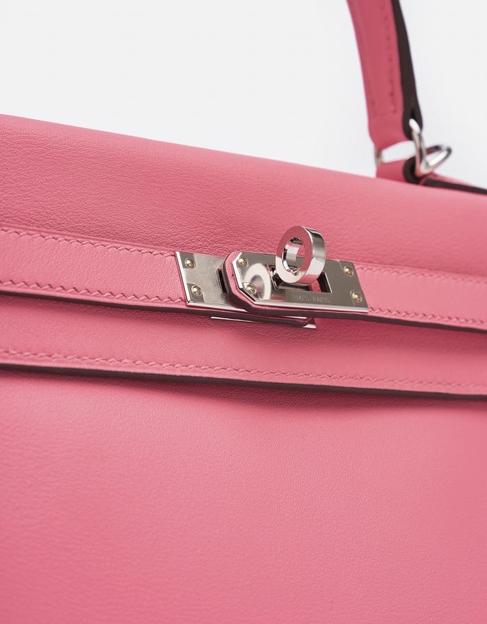 Hermes Kelly 25 Swift Rose Azalee Saclàb Hardware