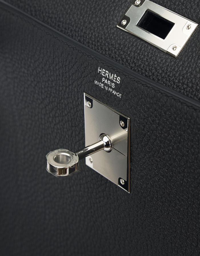 Hermès Kelly 28 Togo Black Saclàb Luxury Vintage Hardware