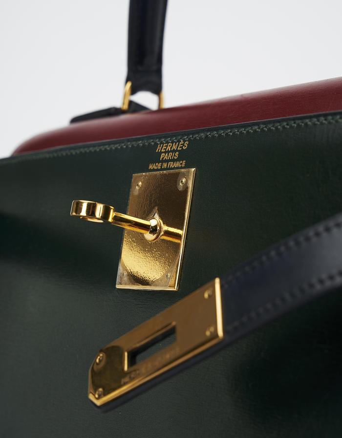 Hermès Kelly 28 Box Tricolor Saclàb 24 Faubourg St Honoré Lock