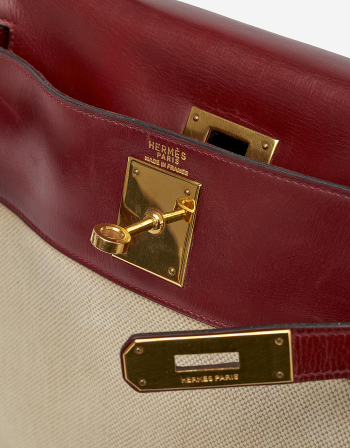 Hermès Kelly 28 Toile Box Rouge H by Saclab