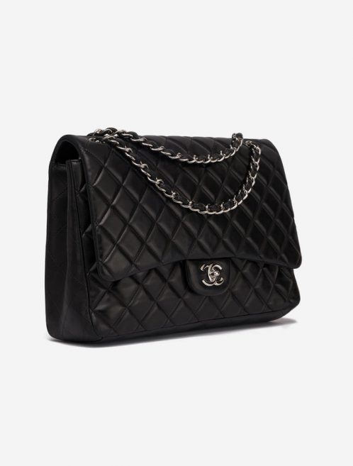 Chanel Timeless Jumbo Lamb Black Single flap silver by saclab