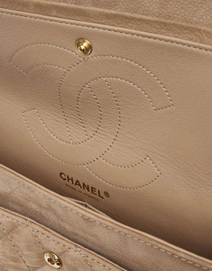 Chanel 2.55 227 Suede Nude buy second hand designer bags