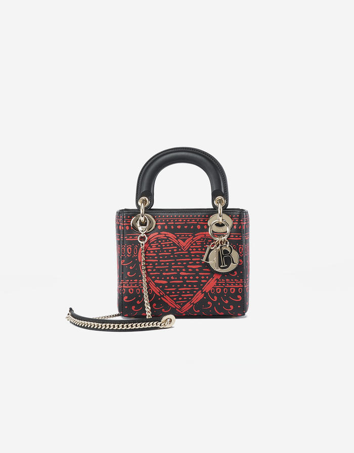 Dior Lady Mini Calf Black Red