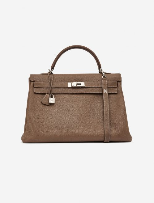 Hermès Kelly 40 Clemence Etoupe Brown, Natural  | Sell your designer bag on Saclab.com