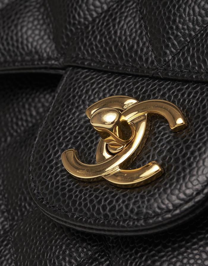 Chanel Classic Flap Jumbo Caviar Black Saclàb CC Logo Clasp