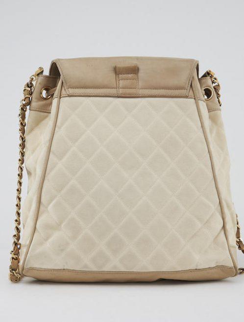 Chanel Market Bag Beige Canvas Saclàb Back