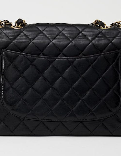 Chanel Vintage Single Flap Jumbo Lambskin Black Saclàb Back