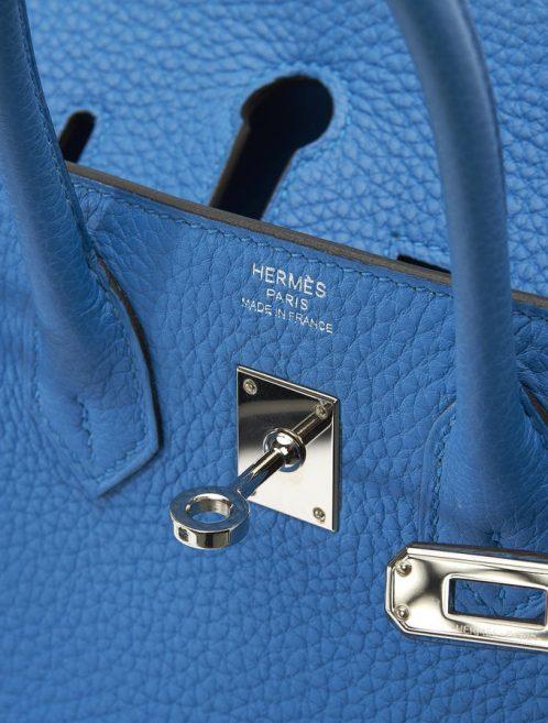 Hermès Birkin 25 Togo Bleu Zanzibar Saclàb Detail Open Logo hardware Shiny Palladium New