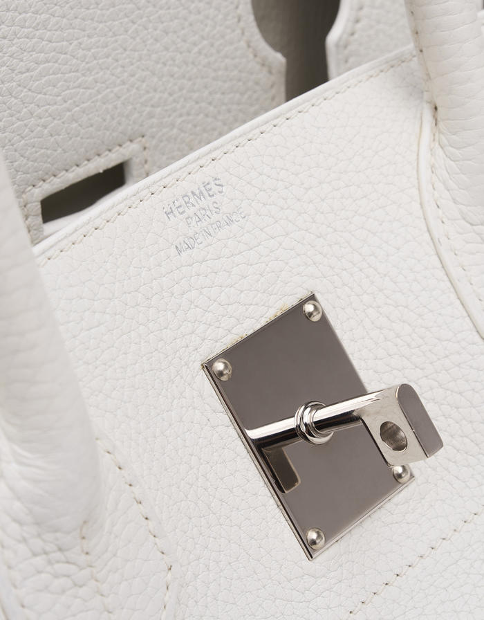 Hermes Birkin JPG Clemence White Saclab Logo
