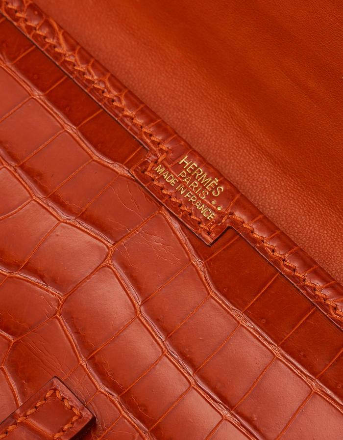 Hermès Jige 20 Niloticus Crocodile Orange H Saclàb