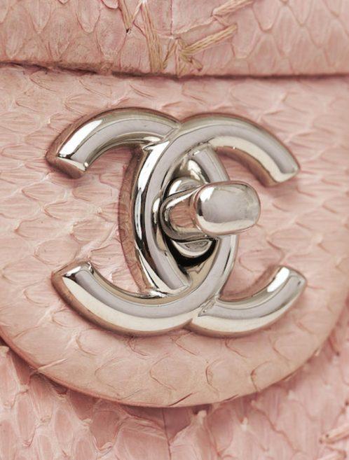 Chanel Classic Single Flap Python Light Pink Saclàb CC Clasp