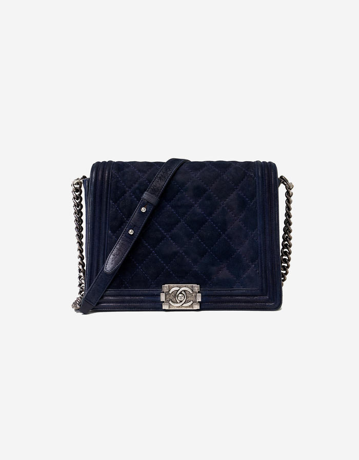 Chanel Boy Bag Calfskin Metallic Dark Blue Saclàb