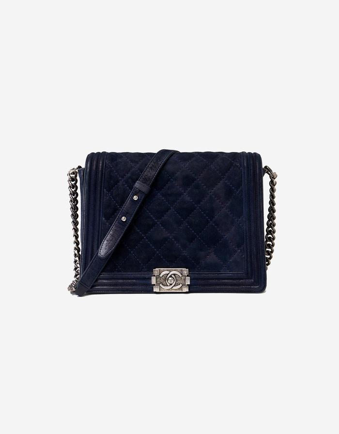 Chanel Boy Bag Calfskin Metallic Dark Blue Saclàb