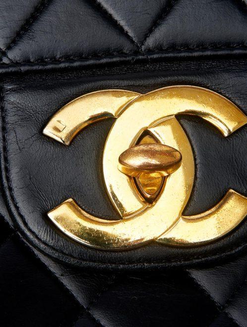 Chanel Jumbo Calfskin Black Vintage Saclàb CC Logo