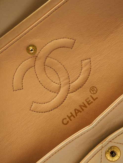 Chanel Classic Double Flap Medium Beige Saclàb Logo