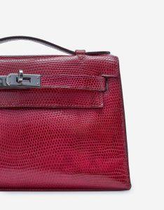 Hermès Kelly Pochette Lizard Fuchsia