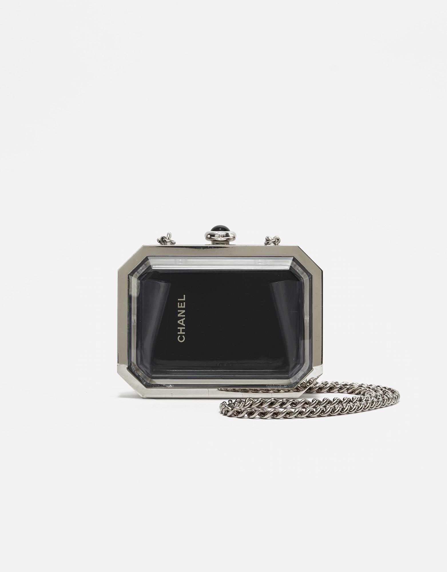 Chanel Première Minaudière Clutch Metal Plexiglass Black Silver