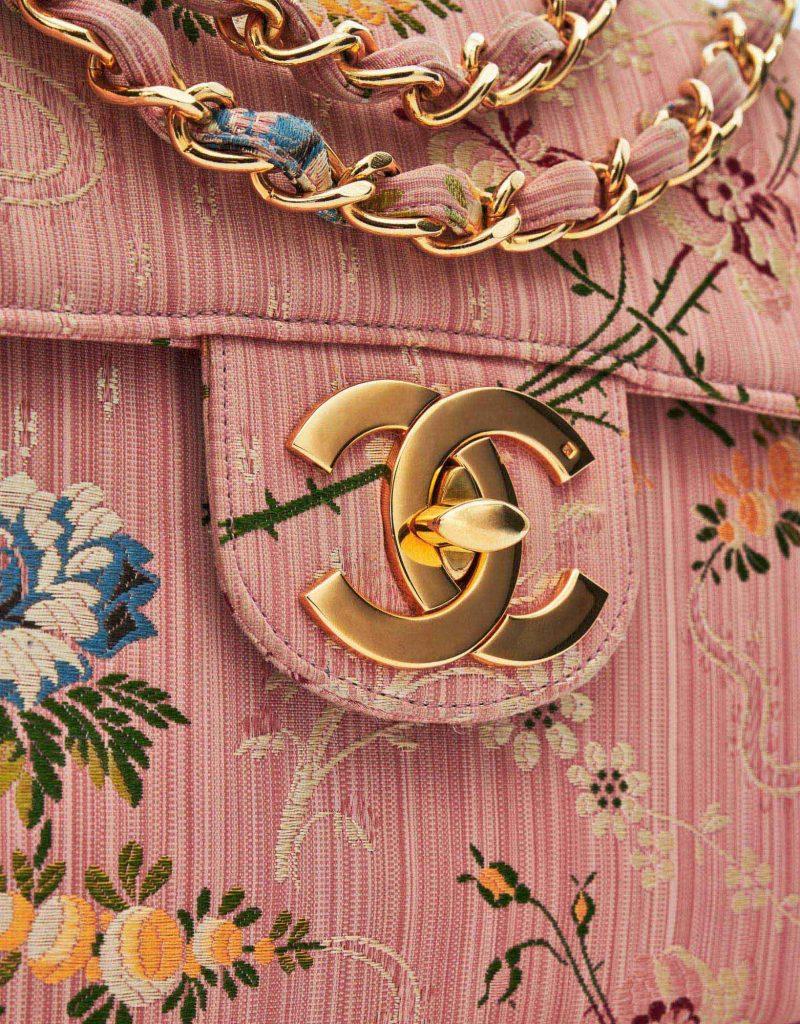 Chanel Timeless Jumbo Brocade Rose Silk Limited Edition