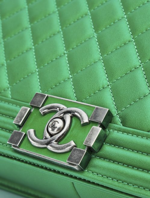 Chanel Boy Medium Lamb Metallic Green Hardware