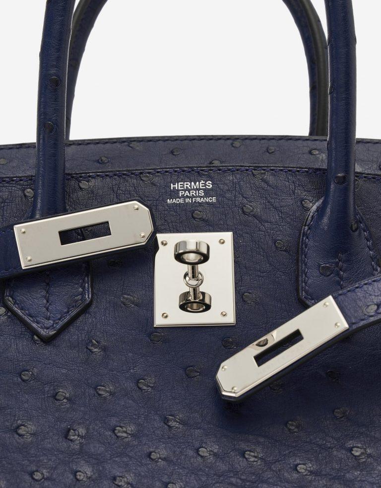 Hermès Birkin 30 Ostrich Blue Iris Palladium Hardware SACLÀB