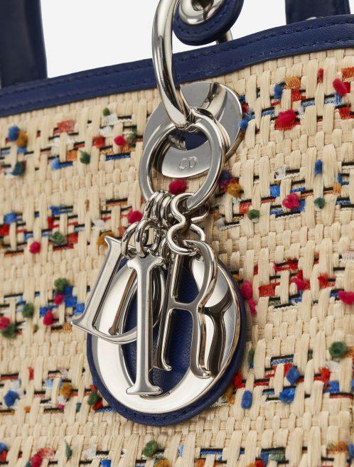 Dior Lady Medium Leather Wicker Blue Beige Charms SACLÀB