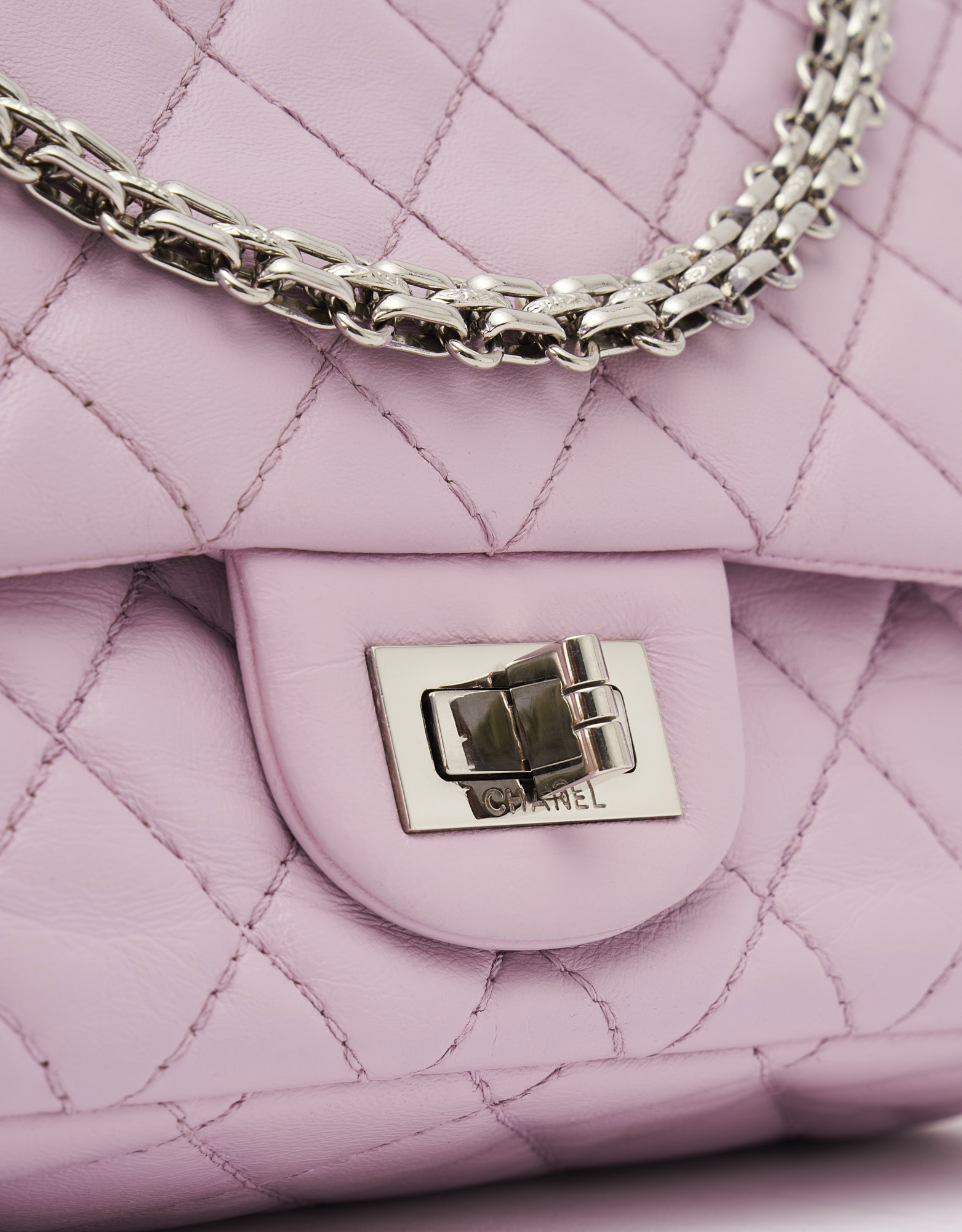 Chanel 2.55 Reissue 225 Lamb Rose Handbag Silver Mademoiselle Lock