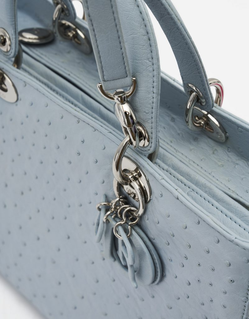 Dior Lady Large Ostrich Blue handbag charms