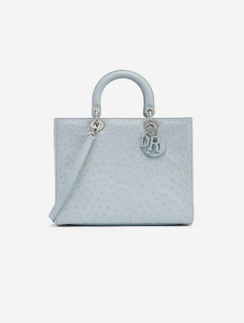 Dior Lady Large Ostrich Blue handbag