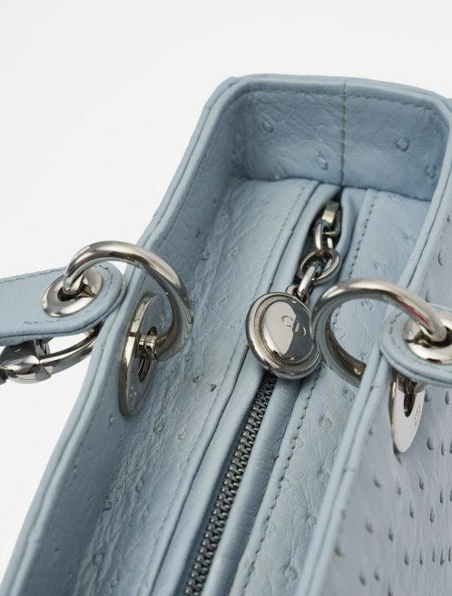 Dior Lady Large Ostrich Blue handbag hardware