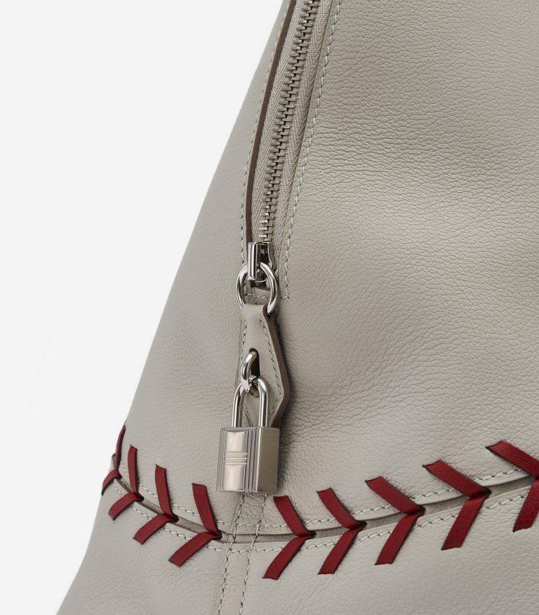 Hermès Bolide 1923 Large Evercolor Leather Gris Perle Rouse Casaque Baseball Edition