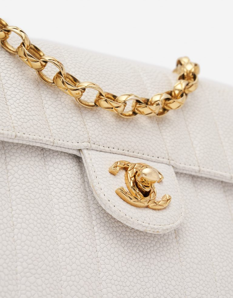 Vintage Chanel Timeless Mini Caviar White Handbag Gold Hardware