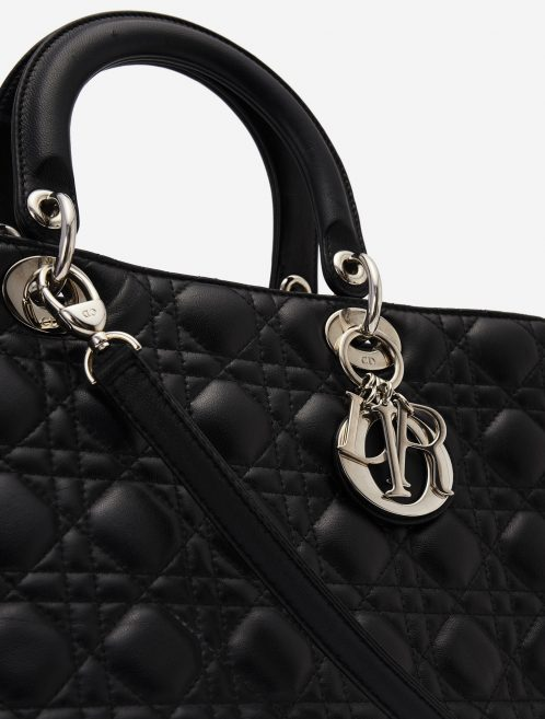 Dior Lady Large Calf Black Secondhand Handbag Charms