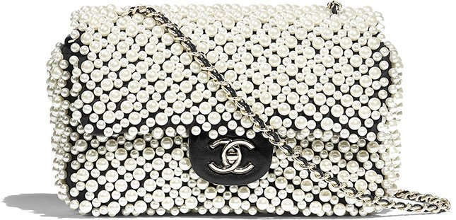 chanel pearl on flap bag