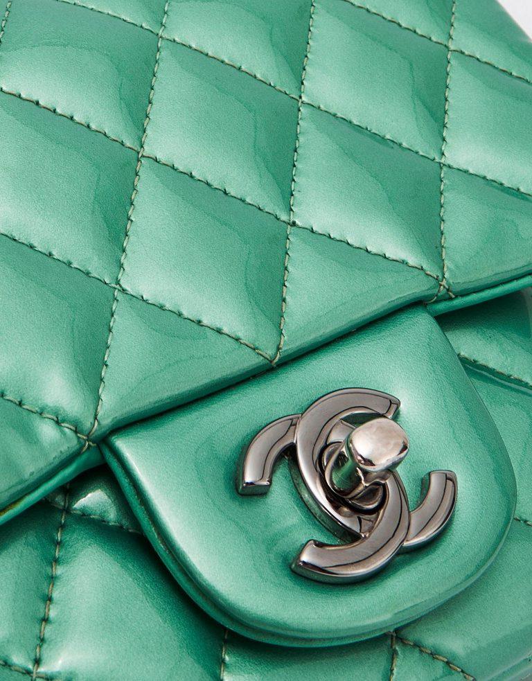 Chanel Timeless Mini Square Patent Green Bag Hardware SACLÀB