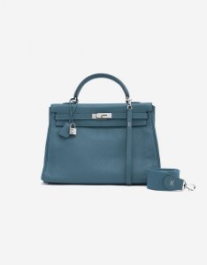 Hermès Kelly 35 Clemence leather Colvert Blue SACLÀB