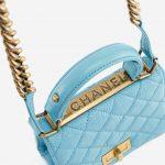 Chanel Rita Flap Bag Top Handle in Blue Turquoise Luxury Pre-Loved Bag