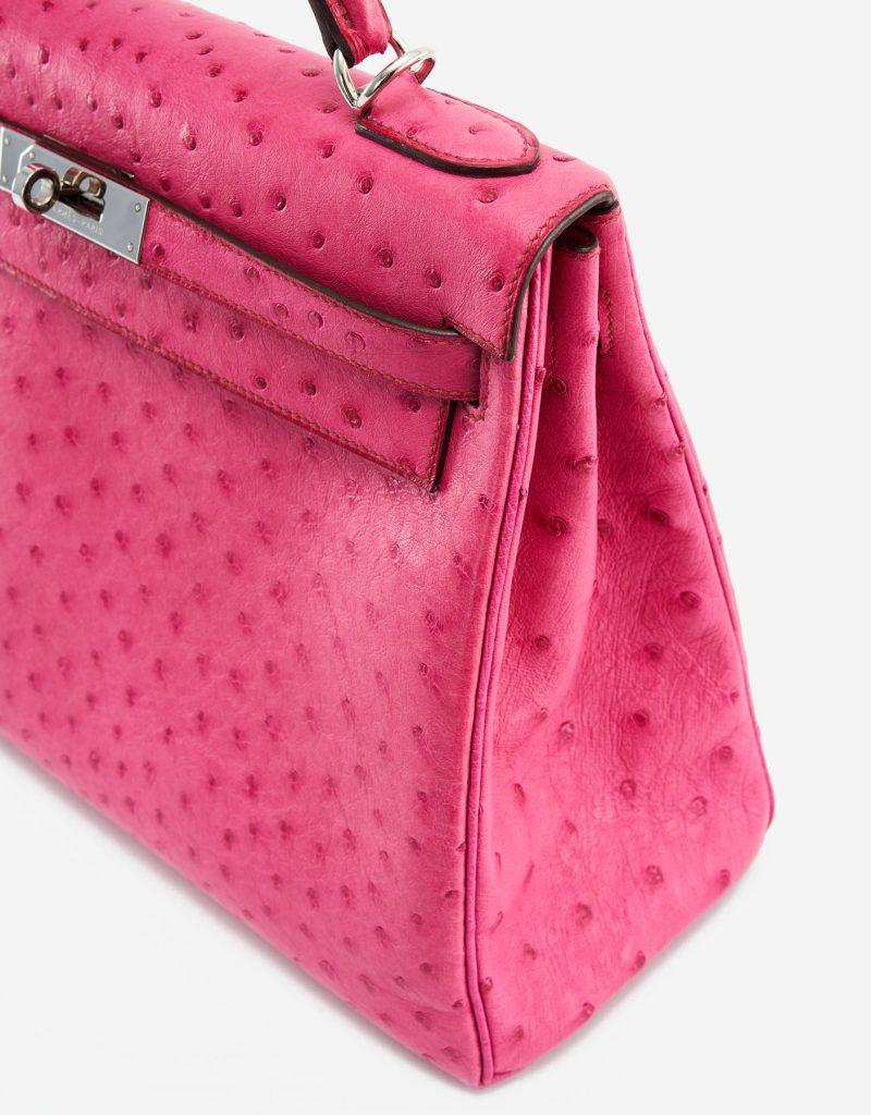 Kelly 32 Ostrich leather Fuchsia Luxury Pre-Loved Handbag