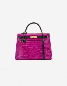 A pre-loved Hermès Kelly 35 HSS Crocodile Porosus Rose Scheherazade / Aubergine on SACLÀB