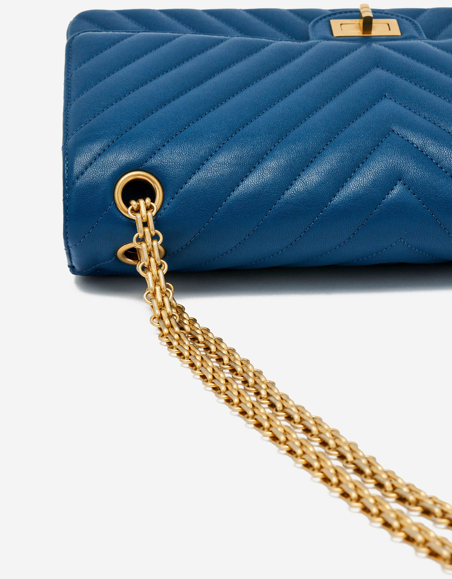 Chain Strap Detail of a Limited-Edition Chanel 2.55 226 in Blue and Pink on SACLÀB