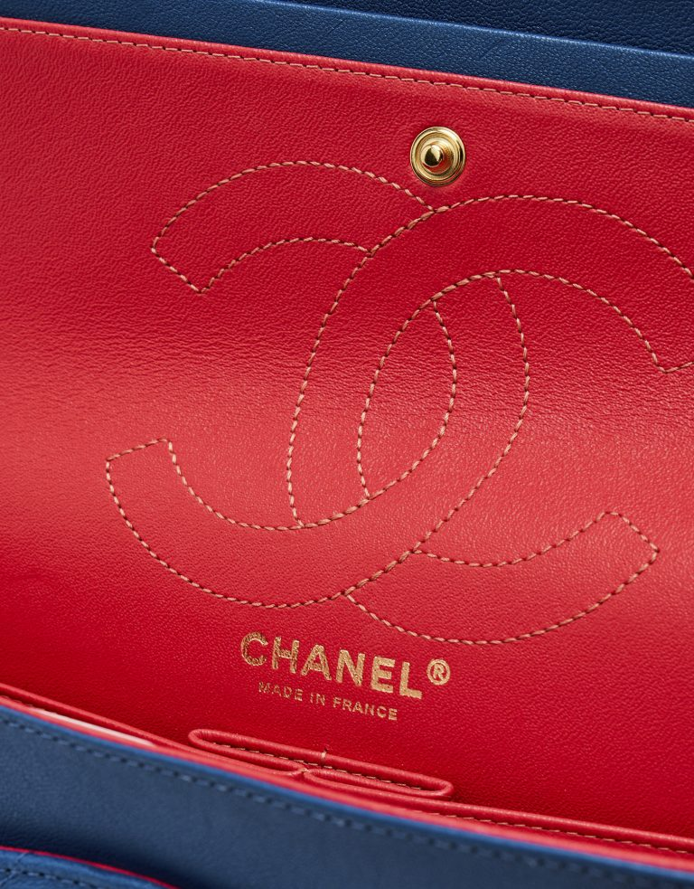 Logo Detail of a Limited-Edition Chanel 2.55 226 in Blue and Pink on SACLÀB