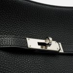Hardware Close-Up of A Pre-Loved Hermés Jypsiere 28 Taurillon Clemence in Black