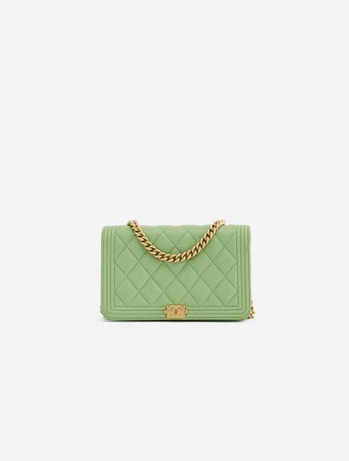 A pre-loved Chanel Boy Wallet on Chain Lambskin in Light Green on SACLÀB