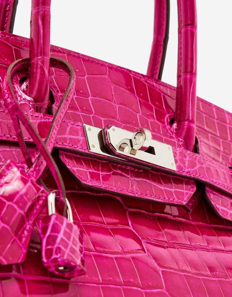 Silver Hardware detail of a pre-loved Hermès Birkin 30 Crocodile Niloticus Rose Scheherazade on SACLÀB