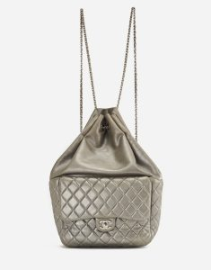 A Chanel Backpack in Seoul in Silver Lambskin on SACLÀB