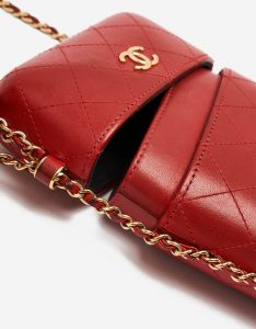 A pre-loved Chanel Clutch with Chain Calfskin Red on SACLÀB