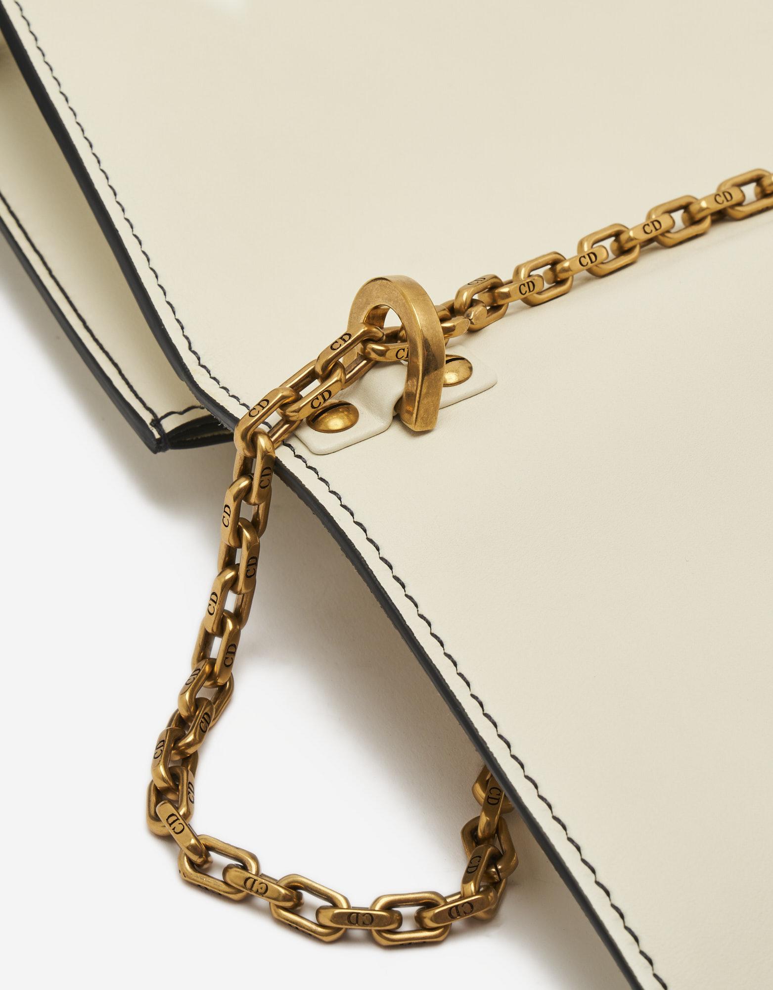 Chain Strap Detail on a pre-loved Dior J'ADIOR Medium Calfskin Beige on SACLÀB