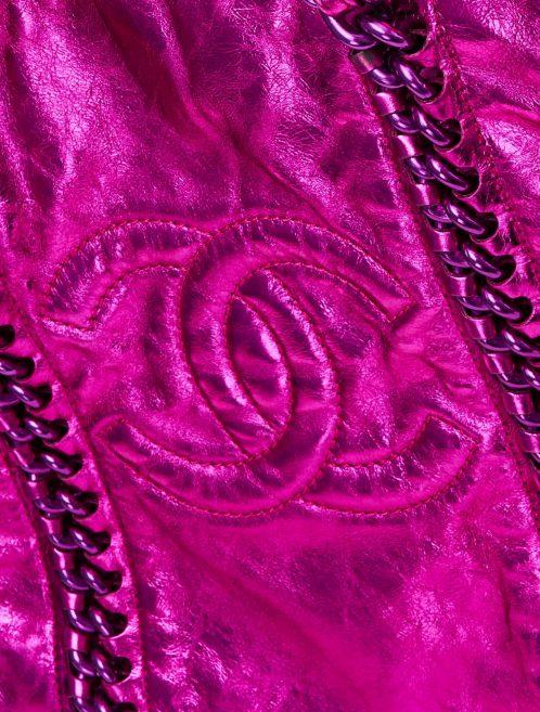 A pre-loved Chanel Shopper Metallic Pink on SACLÀB