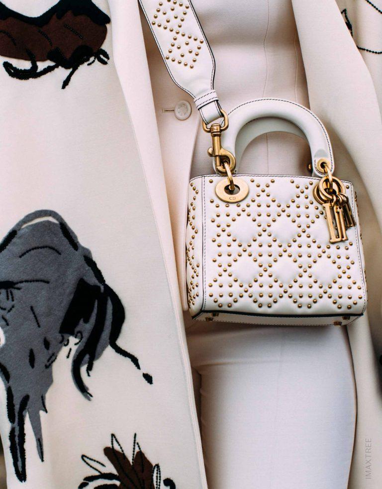 White Lady Dior Bag with Gold Hardware Streetstyle SACLÀB